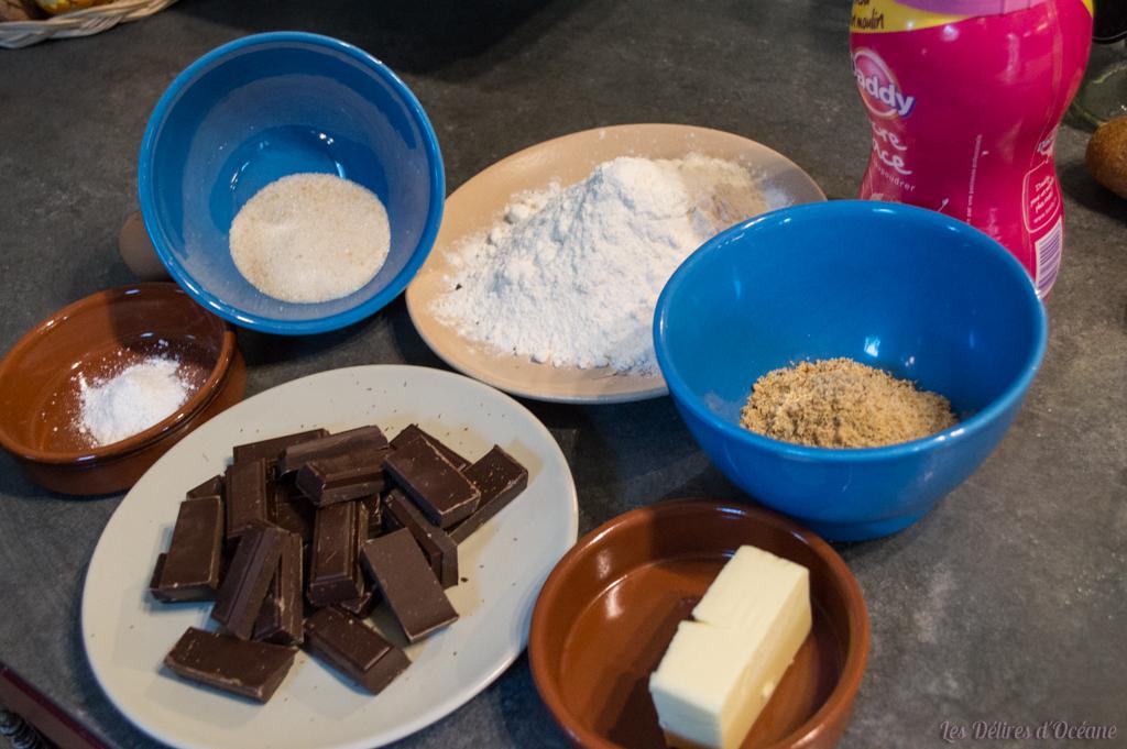 ingrédients pour faire des crinkles pralinés tout chocolat maison